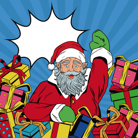 Santa claus with gifts Christmas pop art vector illustration graphic Illustration