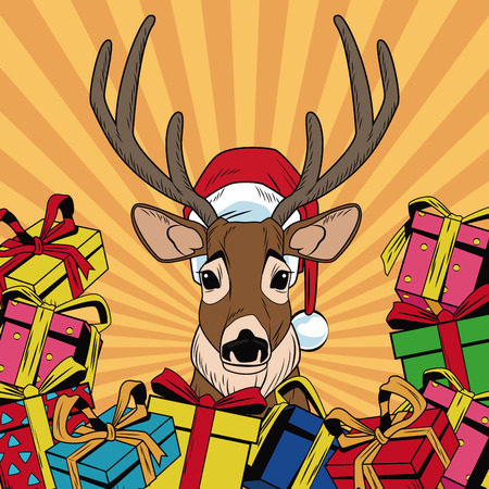Reindeer with gifts Christmas pop art vector illustration graphic Illustration