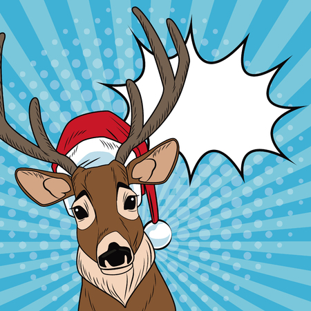 Reindeer with santa hat and bubble Christmas pop art vector illustration graphic Illustration