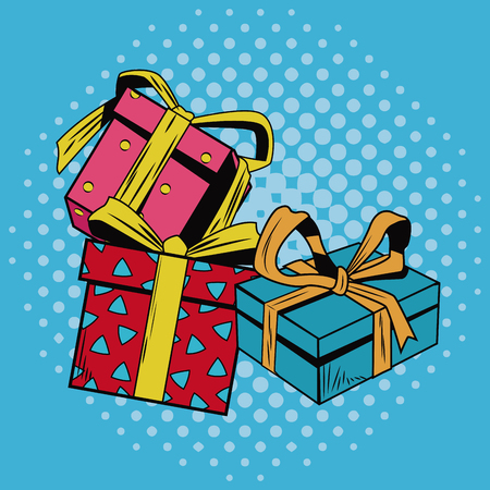 Gift boxes Christmas pop art vector illustration graphic