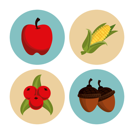 rounds: Thanksgiving round icons set icon vector illustration graphic design