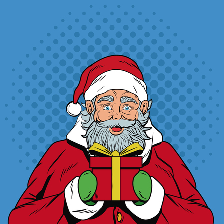Santa claus with gift Christmas pop art vector illustration graphic