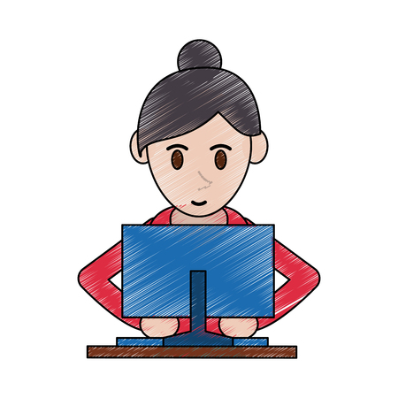 woman using computer icon image frontview vector illustration design Illustration