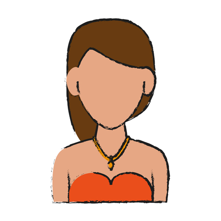 woman with short brown hair wearing strapless top avatar portrait icon image vector illustration design