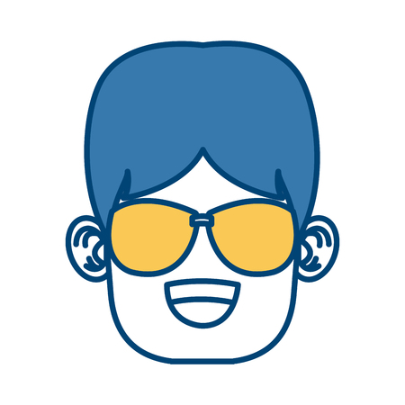 Boy with sunglasses cartoon icon.