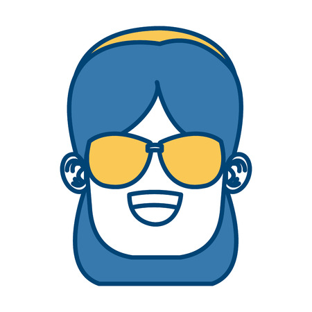 Girl with sunglasses icon.