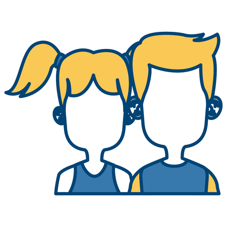 Cute kids friends cartoon icon Illustration