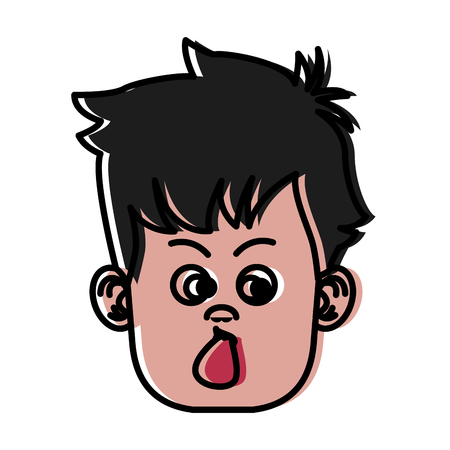 Funny boy face icon vector illustration graphic design Illustration