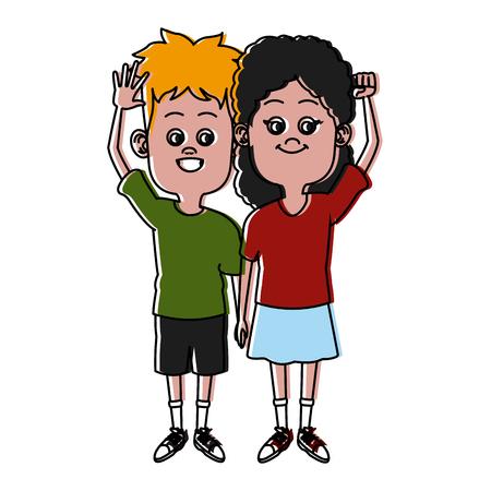 Cute kids friends cartoon icon.
