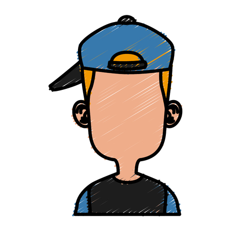 Boy faceless with hat cartoon icon vector illustration graphic design