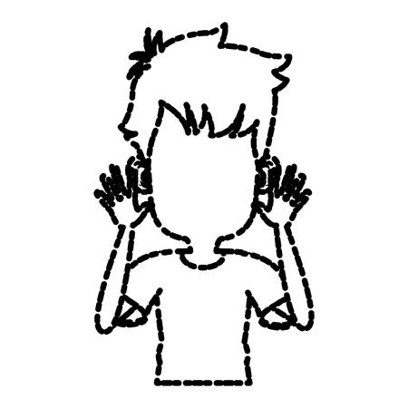 Cute and funny boy cartoon icon vector illustration graphic design Illustration