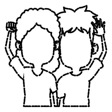 joking: Cute kids friends cartoon icon vector illustration graphic design