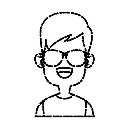 Boy with sunglasses cartoon icon vector illustration graphic design Illustration