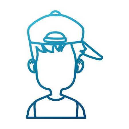 Boy faceless with hat cartoon icon vector illustratino graphic design