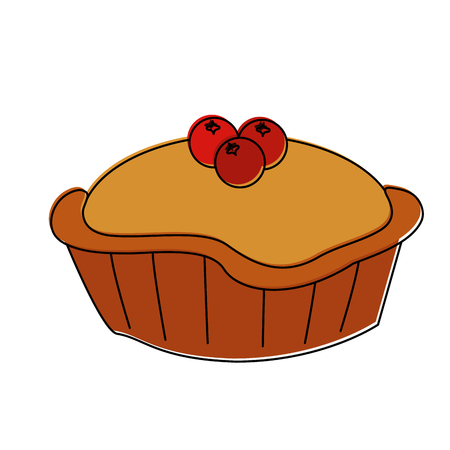 pie with cherry pastry icon image vector illustration design