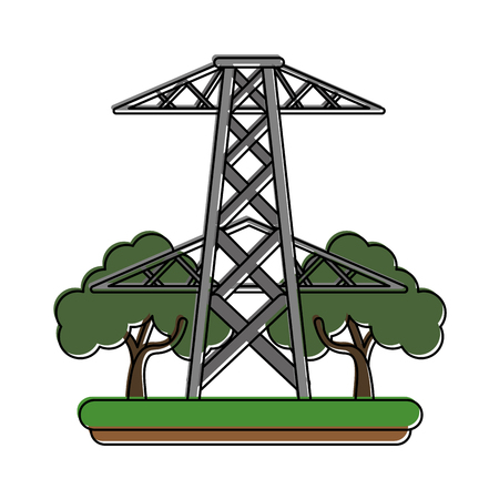 electric tower surrounded by trees icon image vector illustration design