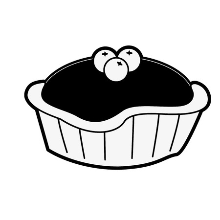pie with cherry pastry icon image vector illustration design  black and white