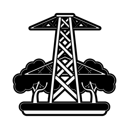 electric tower surrounded by trees icon image vector illustration design  black and white