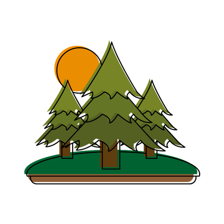 wilderness area: pine trees forest with sun and grass icon image vector illustration design Illustration