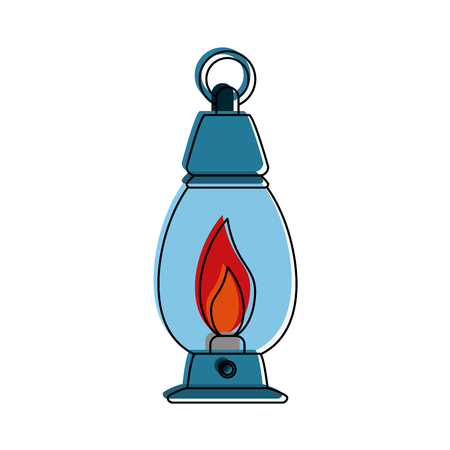 oil lamp camping outdoors icon image vector illustration design