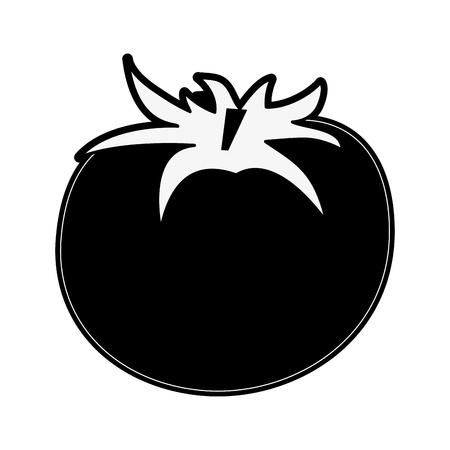 tomato fruit icon image vector illustration design  black and white Illustration
