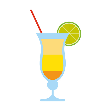 tropical cocktail with lime garnish icon image vector illustration design
