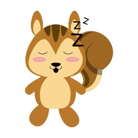 squirrel sleeping  cute animal cartoon icon image vector illustration design