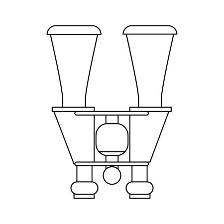 binoculars topview icon image vector illustration design  black line