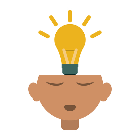 lightbulb coming out of head  idea concept icon image vector illustration design