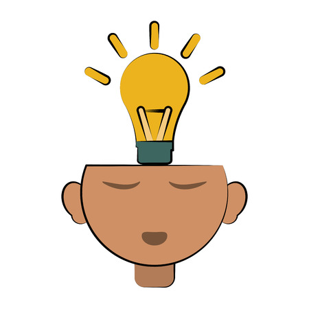 Lightbulb coming out of head  idea concept icon image illustration design