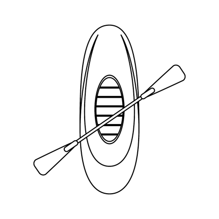 row boat or kayak icon image vector illustration design  black line Illustration