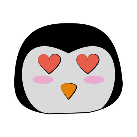 penguin with heart eyes  cute animal cartoon icon image vector illustration design