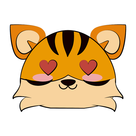 tiger with heart eyes cute animal cartoon icon image vector illustration design
