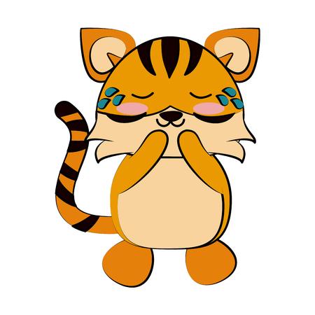 tiger crying cute animal cartoon icon image vector illustration design