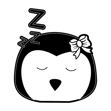 penguin sleeping cute animal cartoon icon image vector illustration design  black and white Illustration