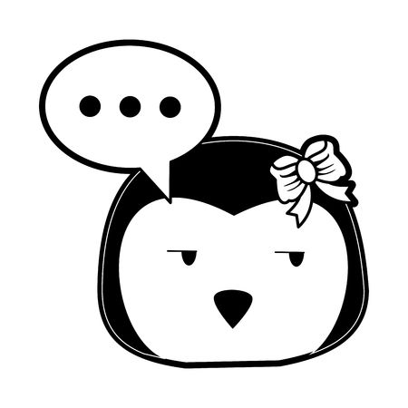 penguin side eye and chat bubble cute animal cartoon icon image vector illustration design  black and white Illustration