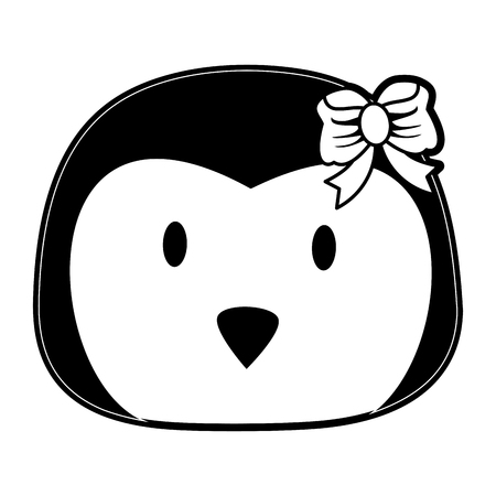 penguin cute animal cartoon icon image vector illustration design  black and white