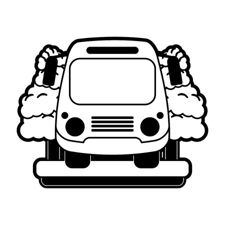 School bus surrounded by trees  front view icon