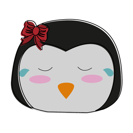 girl penguin crying cute animal cartoon icon image vector illustration design