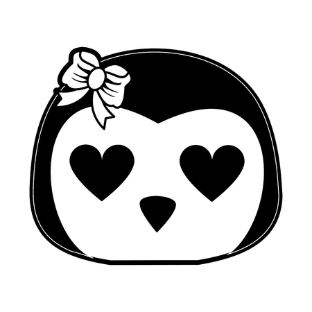 girl penguin with heart eyes  cute animal cartoon icon image vector illustration design  black and white