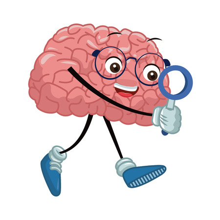 Cute brain searching something icon vector illustration graphic design