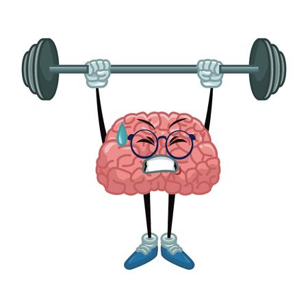 Cute brain cartoon doing exercise icon vector illustration graphic design Illustration