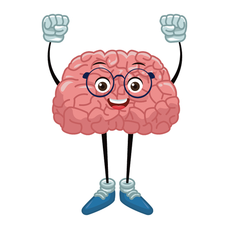 Cute brain cartoon with hands up icon vector illustration graphic design