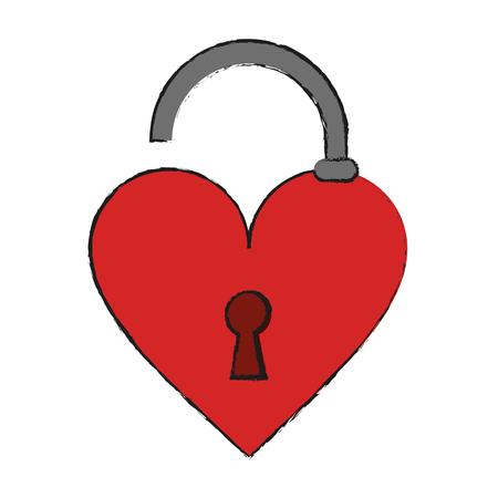 Heart unlocked symbol icon vector illustration graphic design. Illustration