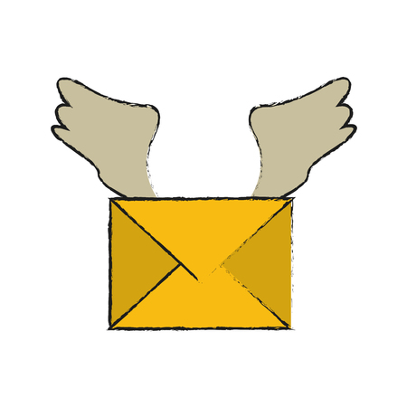 correspondence: Mail with wings icon vector illustration graphic design.