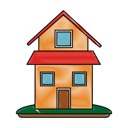 house or home two story icon image vector illustration design