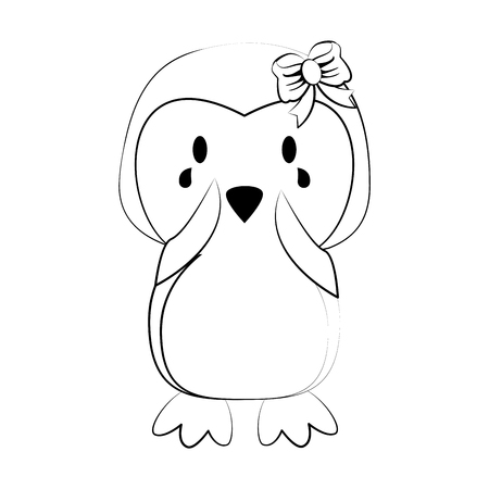 penguin with open wings cute animal cartoon icon image vector illustration design