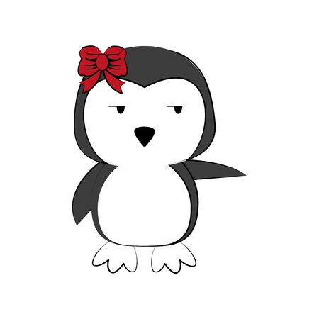 penguin waving hello or bye cute animal cartoon icon image vector illustration design Illustration