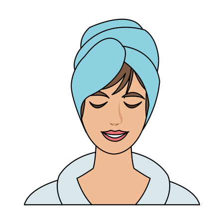 Woman with towel wrapped on head icon. Illustration