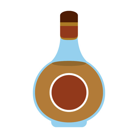the footstool: liquor clear glass bottle with blank label icon image vector illustration design Illustration